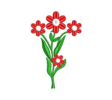 Planta con Flores Rojas Diseños de Bordado