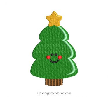 Rostro árbol de navidad para bordado a máquina