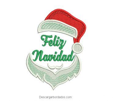 Rostro de papa noel con letra de Feliz Navidad