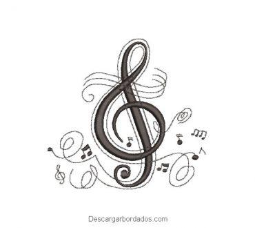Símbolo de música diseño de bordado