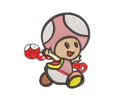 Super Mario Bros Toad Diseño de Bordado