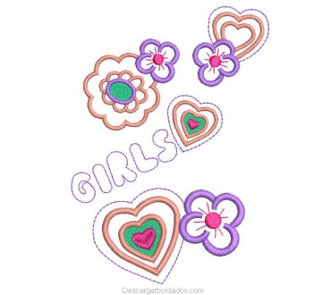 Diseño Bordado de Corazones con Rosas